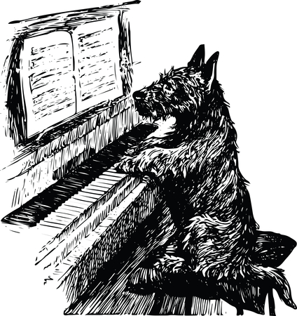 sorry, no dogs allowed at the piano school