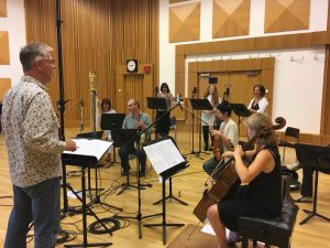 Tim Riley working with members of BBC National Orchestra Wales